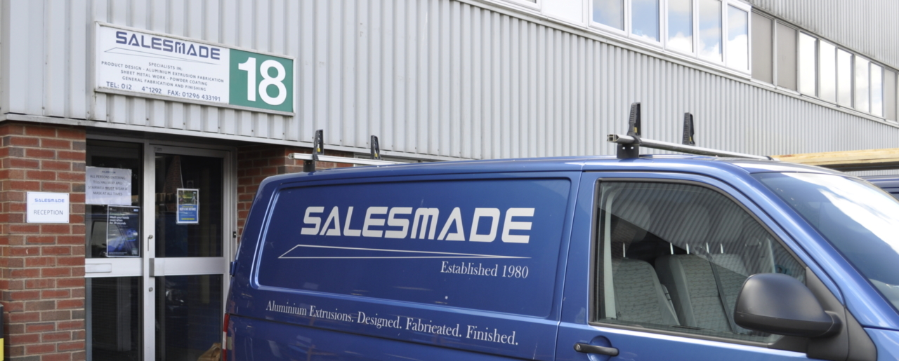 salesmade entrance with sign above the door